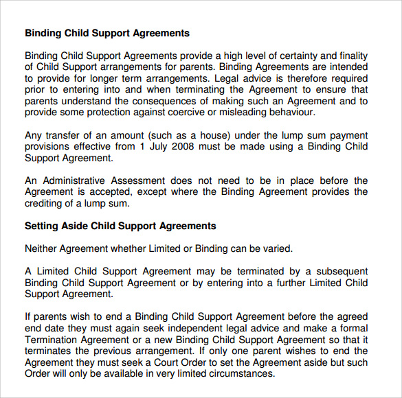 10+ Sample Child Support Agreement Templates – PDF | Sample Templates